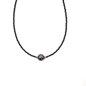 Image 1 - LiiJi Unique Choker Necklace Real Black Spinel Faceted Beads Tahitian Black Shell Pearl 925 Sterling Silver Gold Color Gift