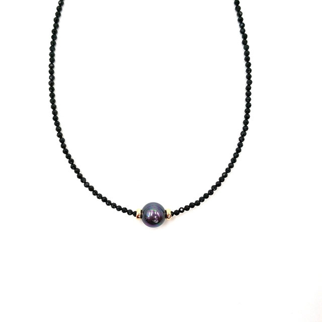 LiiJi Unique Choker Necklace Real Black Spinel Faceted Beads Tahitian Black Shell Pearl 925 Sterling Silver Gold Color Gift