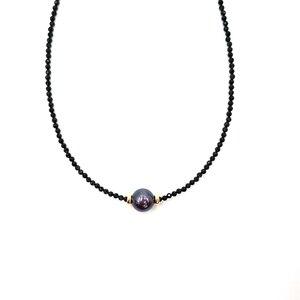 Image 1 - LiiJi ייחודי קולר שרשרת אמיתי שחור ספינל פיאות חרוזים מטהיטי שחור מעטפת פרל 925 כסף זהב צבע מתנה