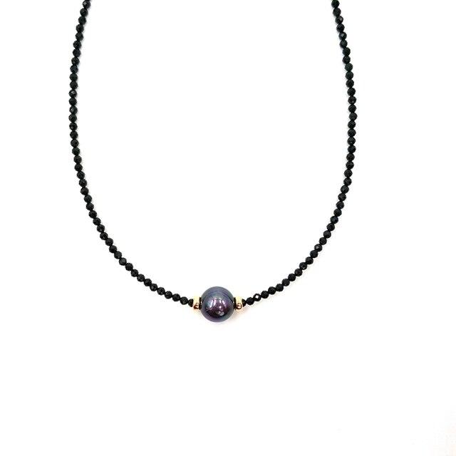 LiiJi ייחודי קולר שרשרת אמיתי שחור ספינל פיאות חרוזים מטהיטי שחור מעטפת פרל 925 כסף זהב צבע מתנה