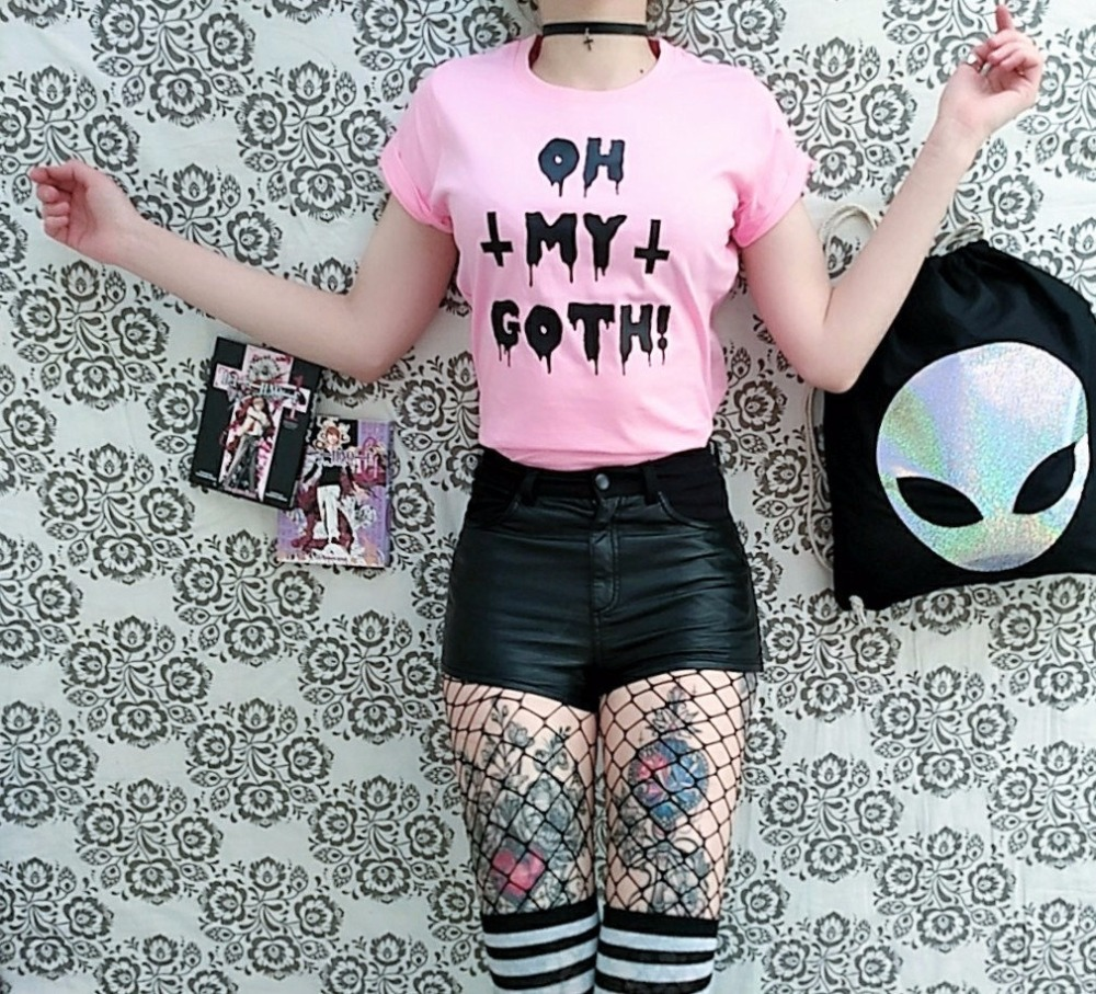 Satã goth rosa t camisa pastel goth gótico grunge alternativa harajuku slogan japonês moda feminina grunge camisetas estéticas topos