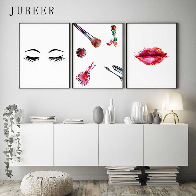 Makeup Wall Art Eyelashes Posters and Prints Lipstick Fashion Illustration Cuadros Decoracion Salon Canvas Prints for Girl Room