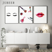 Makeup Wall Art Eyelashes Posters and Prints Lipstick Fashion Illustration Cuadros Decoracion Salon Canvas for Girl Room