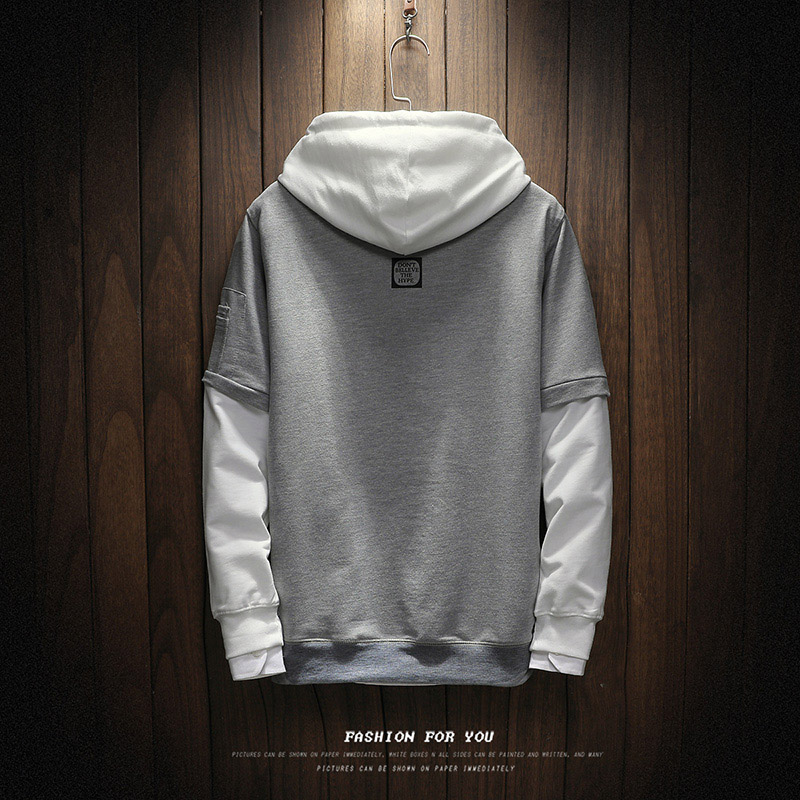 Hip Hop Patchwork Long Sleeve Pullover Contrast Hoodie 11