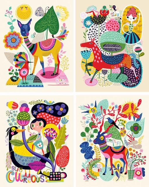 Bella zoo colorato gioiosa camera dei bambini della parete pictures decorativa quadri senza - Quadri per camera bambini ...