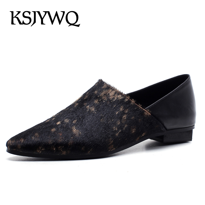 KSJYWQ 2018 Horsehair Women Loafers Genuine leather 1.5 CM Thick Low Heels Slip-on Plus Size Casual Shoes Box Packing PP1694-1 slip on men casual shoes male sandal new fashion genuine leather low heel high quality brand korean style thick bottom plus size