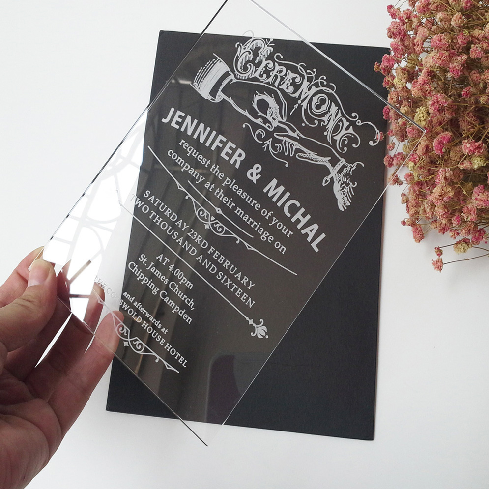 Sample Order For 5*7inch Classic Ceremony Elements Rectangle Shape Clear  Acrylic Wedding Invitation Card