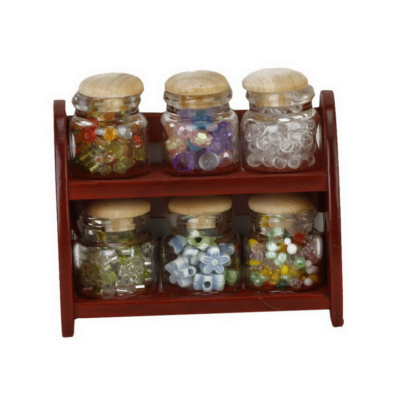Glass spice pot bottle jars rack 1 12 dollhouse miniature for Accessory house