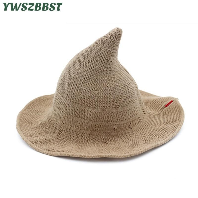 Új nyári nők Sun kalapok Fashion Steeple Witch Hat női vödör - Ruházati kiegészítők