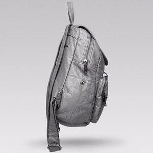 Image 5 - Рюкзак из мягкой потертой кожи для девочек, водонепроницаемый винтажный большой Многофункциональный модный ранец для женщин