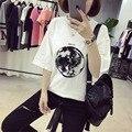 Verão Nova Personalidade Planeta Terra Impresso Camisas Soltas T Mulheres de Slim Lazer Manga Curta T-shirt Branco do Sexo Feminino Grande Tamanho M-XXL