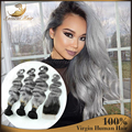 Ombre cabelo brasileiro Ombre cinza cabelo humano corpo onda 4 pacotes com encerramento prata cinza cinza Weave Bundles com fecho