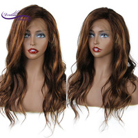 highlight Color Lace Front Human Hair Wigs With Baby Hair Wavy Brazilian Remy Hair #4/#16 Wigs Pre Plucked Hairline