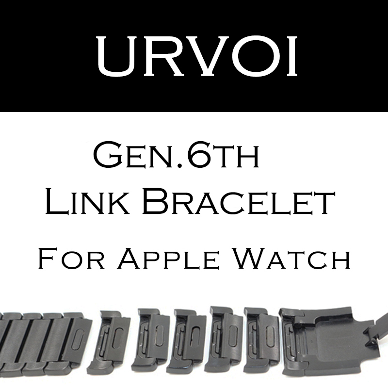 URVOI link bracelet band for apple watch series 3 2 1 strap for iWatch adjustable high quality stainless steel band gen.6 for apple watch link bracelet band strap for iwatch series 3 2 1 42mm 38mm high quality stainless steel watchband