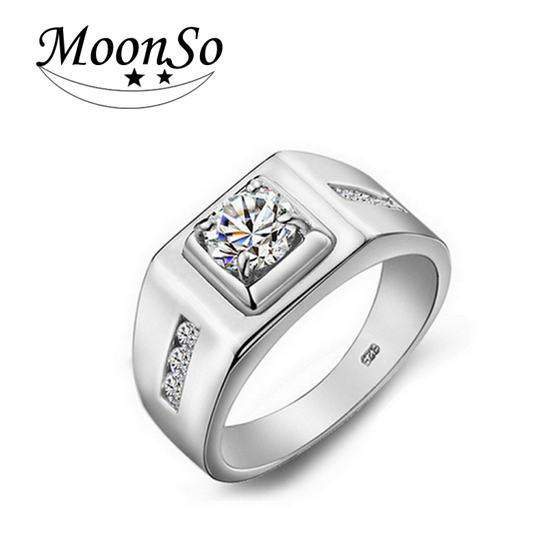 moonso solove new arrival silver engagement ring for men delicate ring and luxury elegant men ring lr303 - Mens Silver Wedding Rings