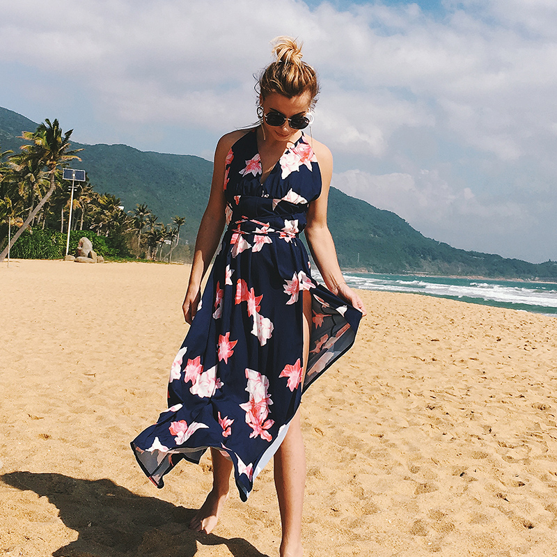 Hot Selling Summer Sexy V Neck Beach Backless Dress Women in Dresses from Women 39 s Clothing