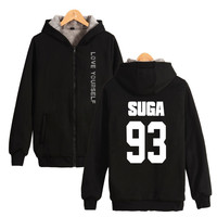Kpop Bangtan Boys Love Yourself Thick Hoodie Sweatshirts With Zipper Winter Warm Thickened Hoodies Zip Up