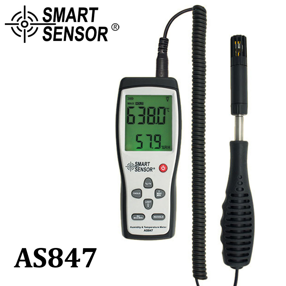 Smart sensor AS847 split digital hygrometer humidity meter 2 in 1 K Type Thermocouple humidity gauge temperature humidity sensor lcd digital humidity and temperature meter gauge type k thermocouple sensor probe 2 in 1 measurement thermometer 10degc 50 degc