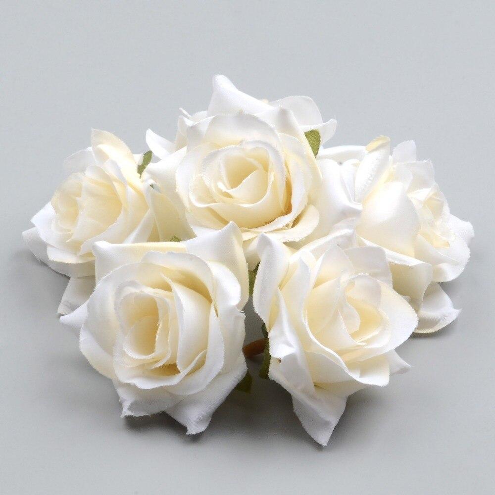 50 шт. DIY Искусственный белая роза цветы из шелка голова для дома Свадебная вечеринка украшение венок подарочной коробке искусственные цветы...