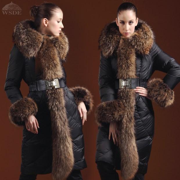 Más el tamaño 5XL Chaqueta de pluma de Ganso abrigo de Invierno 2016 de Las Mujeres chaquetas de piel de mapache grande espesar largo abajo abrigos abrigos Parka