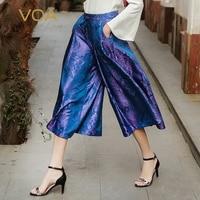 Voa сезон: весна–лето фиолетовый плюс Размеры свободные Широкие брюки середины талии Винтаж Повседневное Для женщин брюк шелк жаккард Брюки
