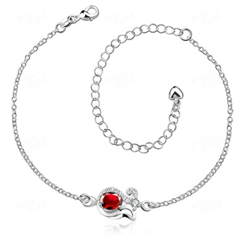Free Shipping 100% Pure 925 Sterling Silver  Daisy Anklet, Ruby Sapphire Anklet trendy gift for girl HZ2791