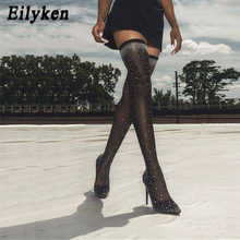 Eilyken 2020 Fashion Runway Crystal Stretch Fabric Sock Boots Pointy Toe Over-the-Knee Heel Thigh High Pointed Toe Woman Boot choudory 2017 fashion runway stretchy sock boots point toe stiletto heel thigh high boot kylie jenner shoes woman crotch booties