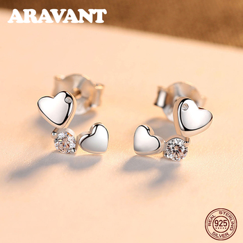 Silver 925 Sterling Jewelry Double Heart Stud Earrings For Women Exquisite Design Girls Earrings Brand Accessories abstract heart stud earrings stainless steel minimalist hollow heart stud earrings for women girls jewelry accessories gifts