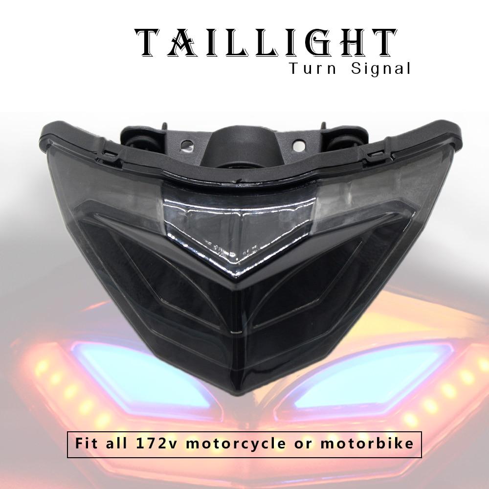Мотоциклетные Противотуманные фары Задний фонарь задний автомобильный лазерный тормоз лампа указателя поворота аксессуары для Kawasaki NINJA250 ...