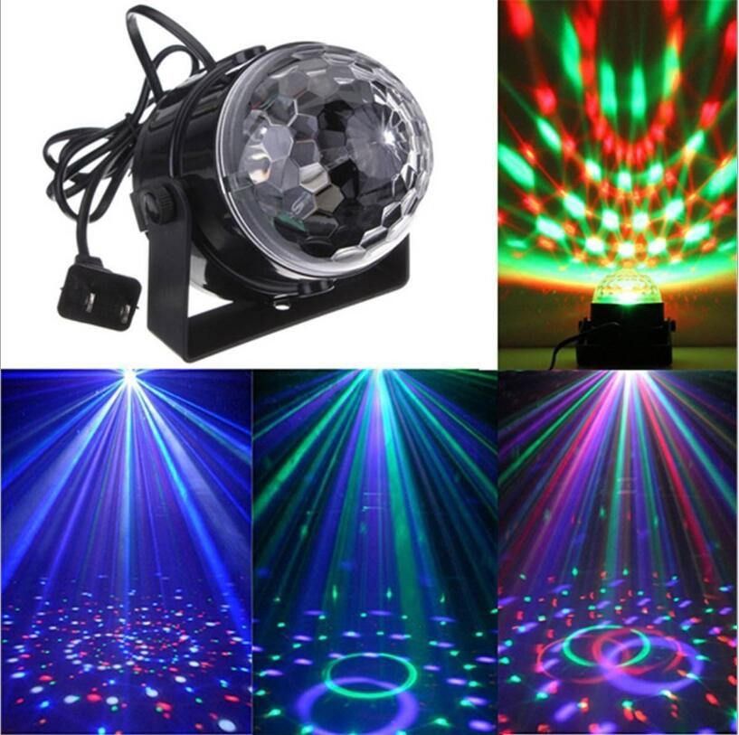 110V 220V Mini RGB LED Crystal Magic Ball Stage Effect Lighting Lamp Bulb Party Disco Club DJ Light Laser Show Lumiere Beam
