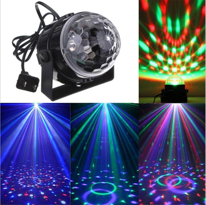 110V 220V Mini RGB LED Crystal Magic Ball Stage Effect Lighting Lamp Bulb Party Disco Club DJ Light Laser Show Lumiere Beam
