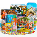 60pcs Cartoon 3D Puzzle with Iron Box for Children,  Jigsaw Puzzle Early Educational Montessori Toys Wooden toys for kids