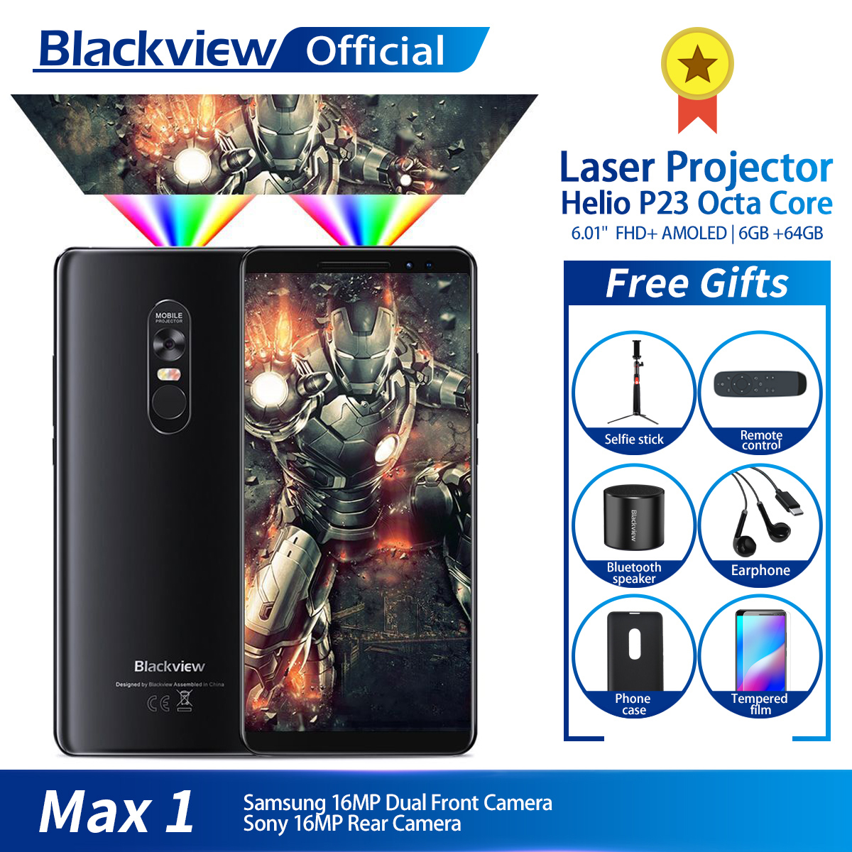 Blackview MAX 1 Projector Mobile Phone AMOLED 4680mAh Android 8.1 Mini Projector Portable Home Theater 6GB+64GB Smartphone MAX1 mannequin