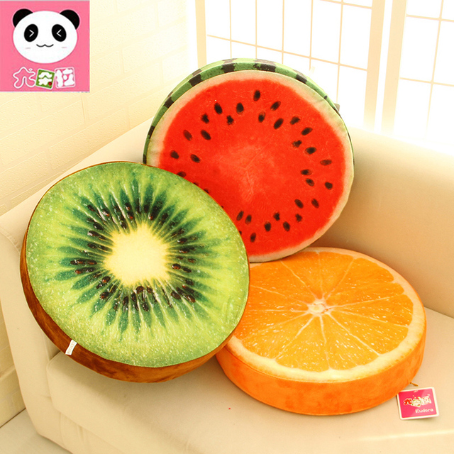 33cm 1PC Funny Fruit Plush toy  pillow watermelon cushion office Toy orange  pillow For girl birthday gift  Christmas present