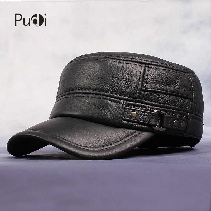 Pudi Cow Leather Flat Peak Baseball Cap Hats for men winter warm army hat  adjustable ear flat 578f7527a457