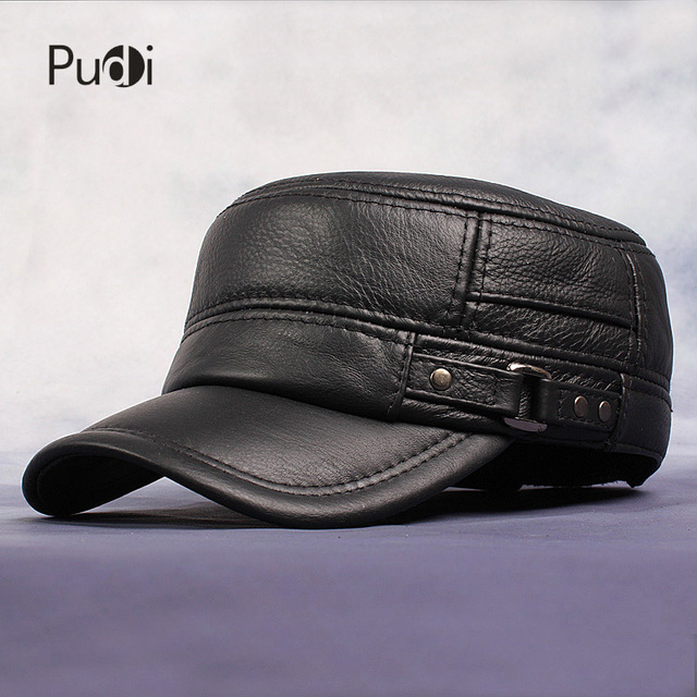 Pudi Cow Leather Flat Peak Baseball Cap Hats for men winter warm army hat  adjustable ear flat b6eda6f43bd