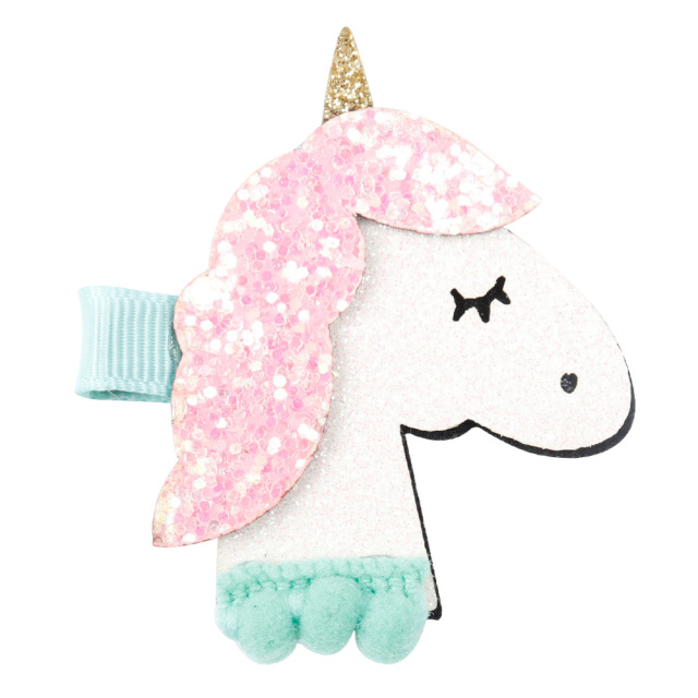 Cute Glitter Unicorn Design Girl's Hair Clip