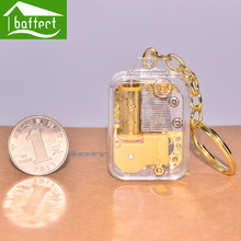 2017 key ring transparent music box hand crank acrylic key chain holiday/birthday/valentine's day gifts castle in the sky