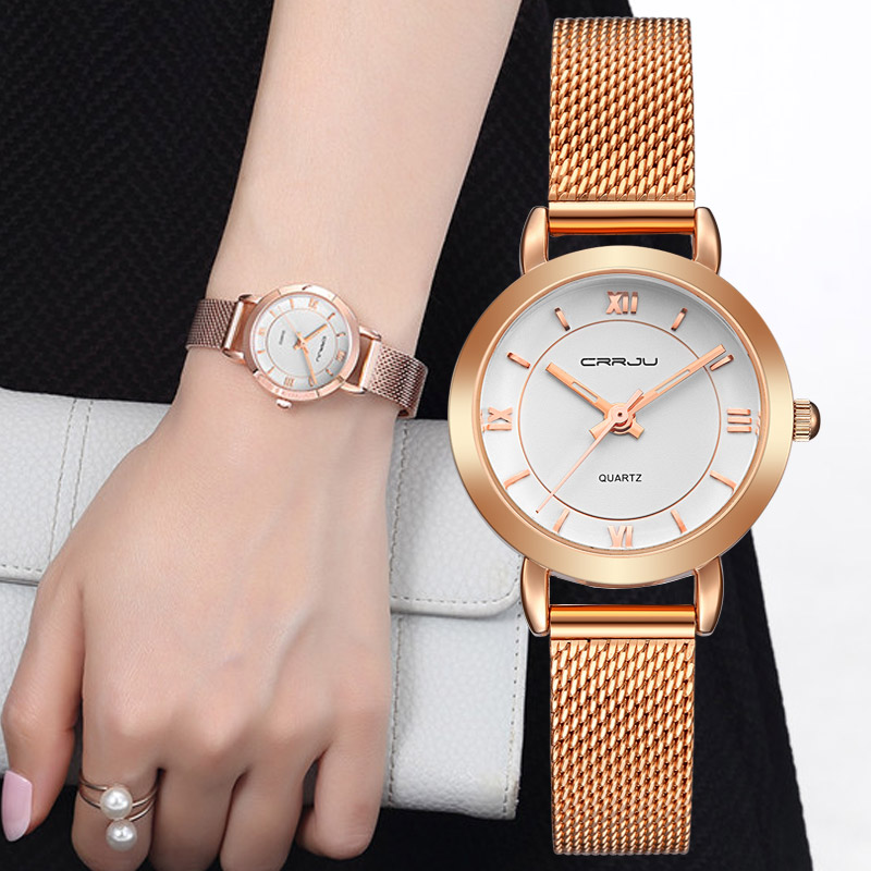 CRRJU Female Women's Silver Rose Gold Tone Mesh Stainless Steel Quartz Analog Waterproof Fashion Watch Casual Wristwatch Female ysdx 398 fashion stainless steel self stirring mug black silver 2 x aaa