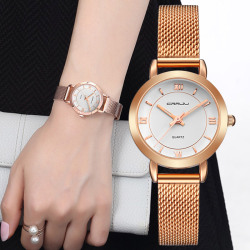 CRRJU Female Women's Silver Rose Gold Tone Mesh Stainless Steel Quartz Analog Waterproof Fashion Watch Casual Wristwatch Female