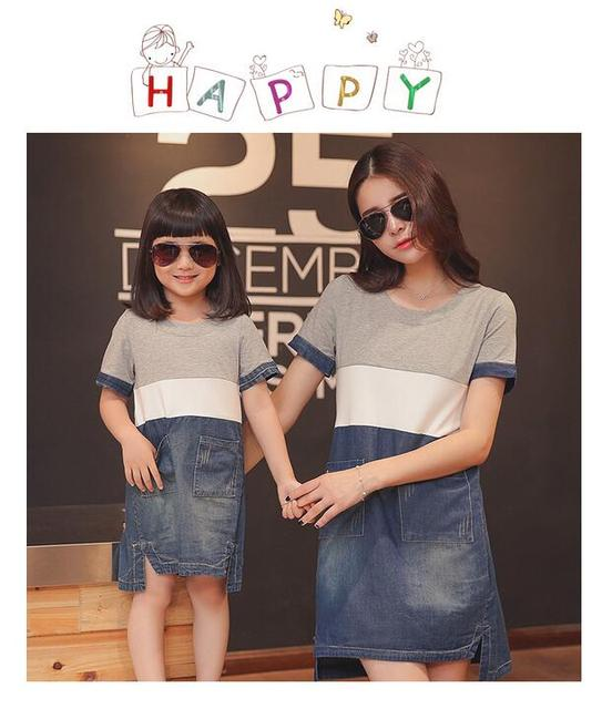 New Mother & Daughter Dresses Family Matching Outfits Short Sleeve Cotton Jeans Patchwork Dress Family Look Kids Summer Clothes