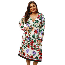 Summer Big Size Dresses for Women Super Casual Floral Bohemian Mid Length Dress Ladies Oversize Plump Girl Elegant