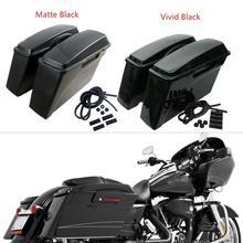 все цены на Motorcycle  Vivid/Matte Black ABS Saddle Bags Saddlebags For Harley Softail Dyna Sportster Touring Road Glide FLT FLH 94~13 онлайн