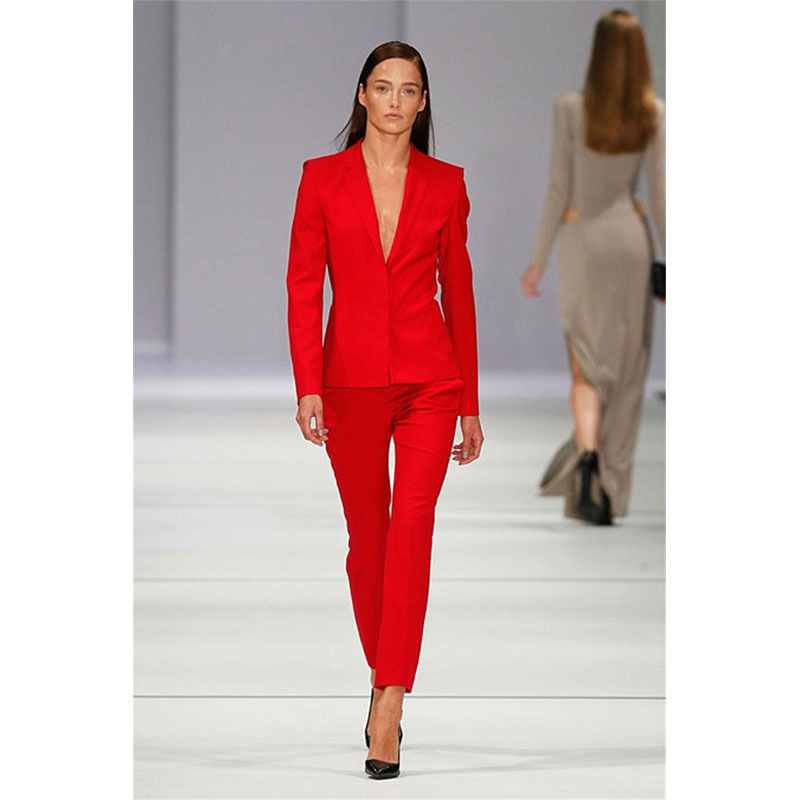 Custom Made Red 2 Piece Set Women Business Suit Ladies Office Uniform Female Trouser Suit bespoke-in Pant Suits from Women's Clothing    1