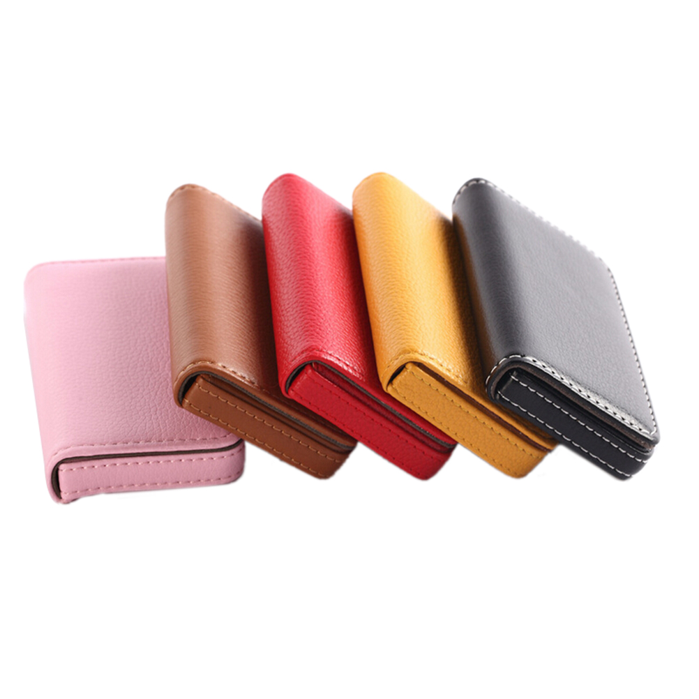 1PC Pocket PU Leather Business ID Credit Card Holder Case Wallet Office School Supplies Creative Gift For Friends New Year