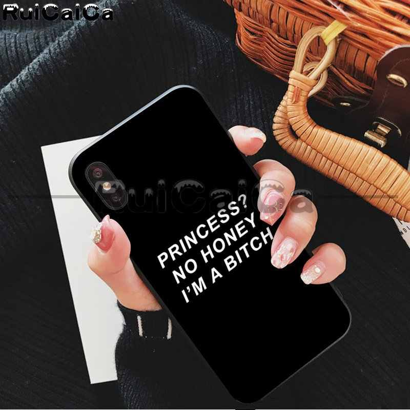 RuiCaiCa kolor tekst na czarnym tle DIY rysunek telefon skrzynki pokrywa Shell dla iPhone 5 5Sx 6 7 7plus 8 8Plus X XS MAX XR