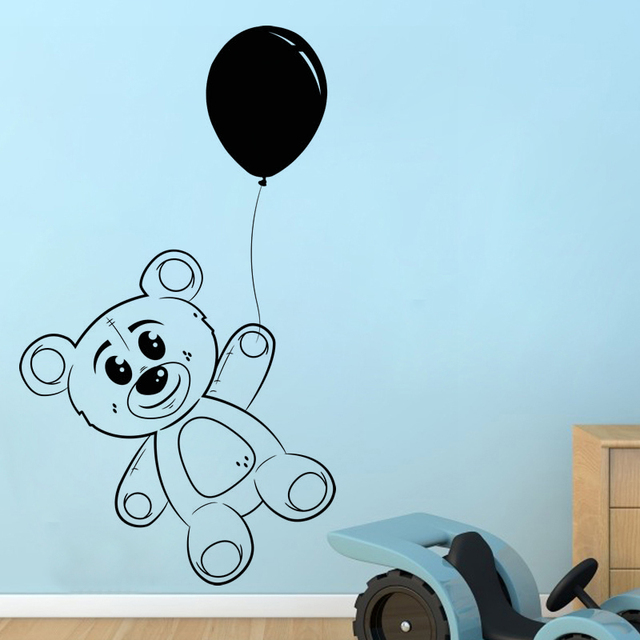 Cute Balloon And Teddy Bear Wall Sticker Bedroom Decor Vinyl Removable Toy Decals For