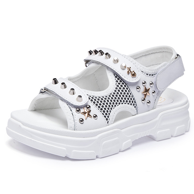 Outdoor Sandals Women Leather Summer casual Genuine Rhinestone Black and White Sport JINBEIE