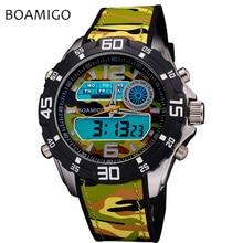 BOAMIGO Digital Watch Men Sport Fitness Waterproof Wrist Watch LED Display Rubber Fashion Luxury Brand Watchs High Quality New