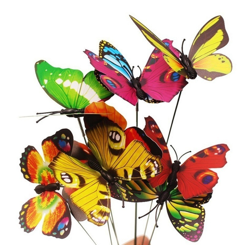 Bunch of Butterflies Garden Yard Planter Colorful Whimsical Butterfly Stakes Decoracion Outdoor Decor Flower Pots Decoration 9